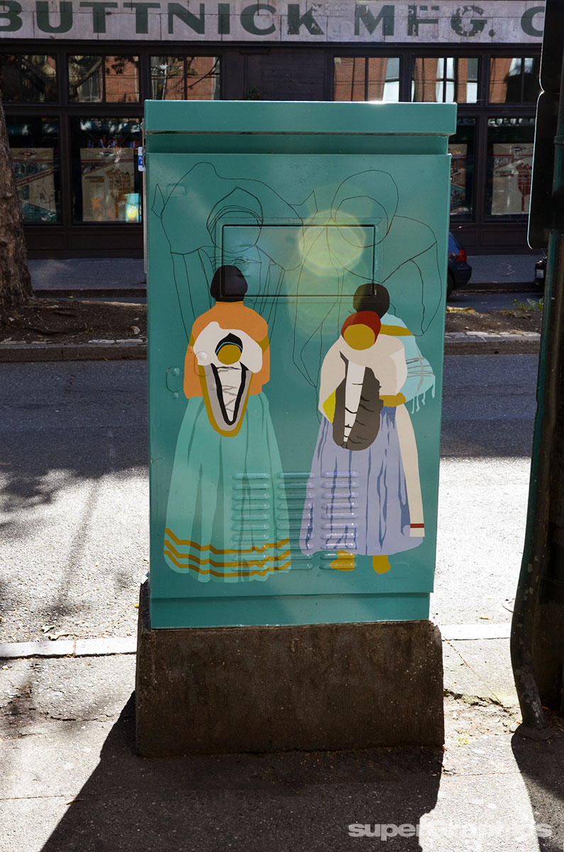 Supergraphics prints and installs vinyl utility box art in Pioneer Square Seattle, WA